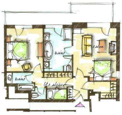 Hôtel le Blizzard_Suite 2 chambres Montagne_plan 75m²