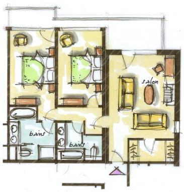 Hôtel le Blizzard_Suite 2 chambres Montagne_plan 82m²