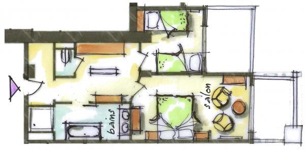 Hôtel le Blizzard_Suite 2 chambres Village_plan 48m²