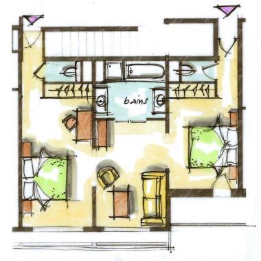 Hôtel le Blizzard_Suite 2 chambres Village_plan 60m²
