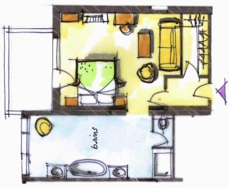 Hôtel le Blizzard_Suite junior Montagne avec cheminée_plan