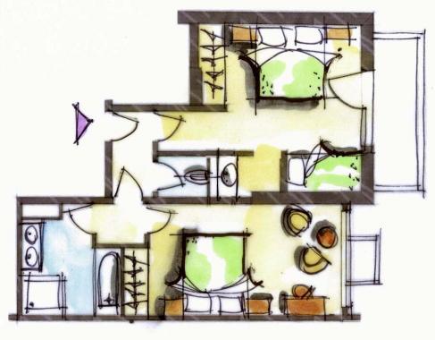 Hôtel le Blizzard_Suite 2 chambres Village_plan 47m²