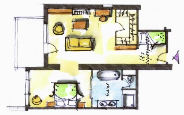 Hôtel le Blizzard_Suite Montagne cheminée_plan