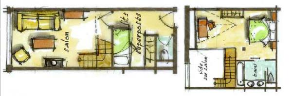 Hôtel le Blizzard_Suite Duplex Montagne_4 personnes_plan 42m²