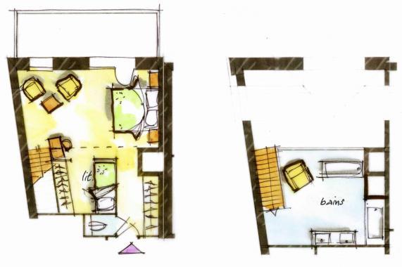 Hôtel le Blizzard_Suite Duplex Montagne_2 personnes_plan 51m²